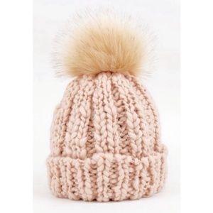 Cable knit faux fur peach beanie